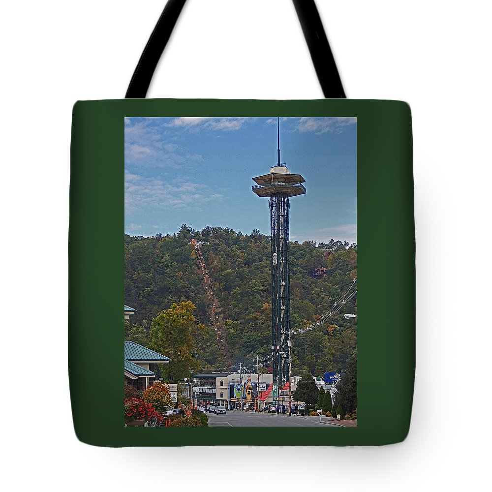 Photographic Print Tote Bag featuring the photograph Arcadia Space Needle In Gatlinburg Tennessee by Marian Bell