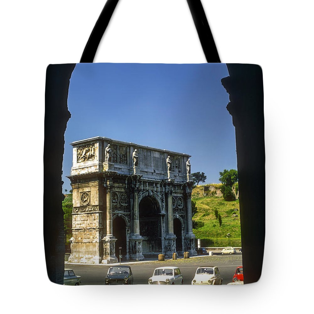 Arch Of Constantine Rome Arches Car Cars Automobile Automobiles Structure Structures Architecture City Cities Cityscape Cityscapes Italy Tote Bag featuring the photograph Arch Of Constantine by Bob Phillips
