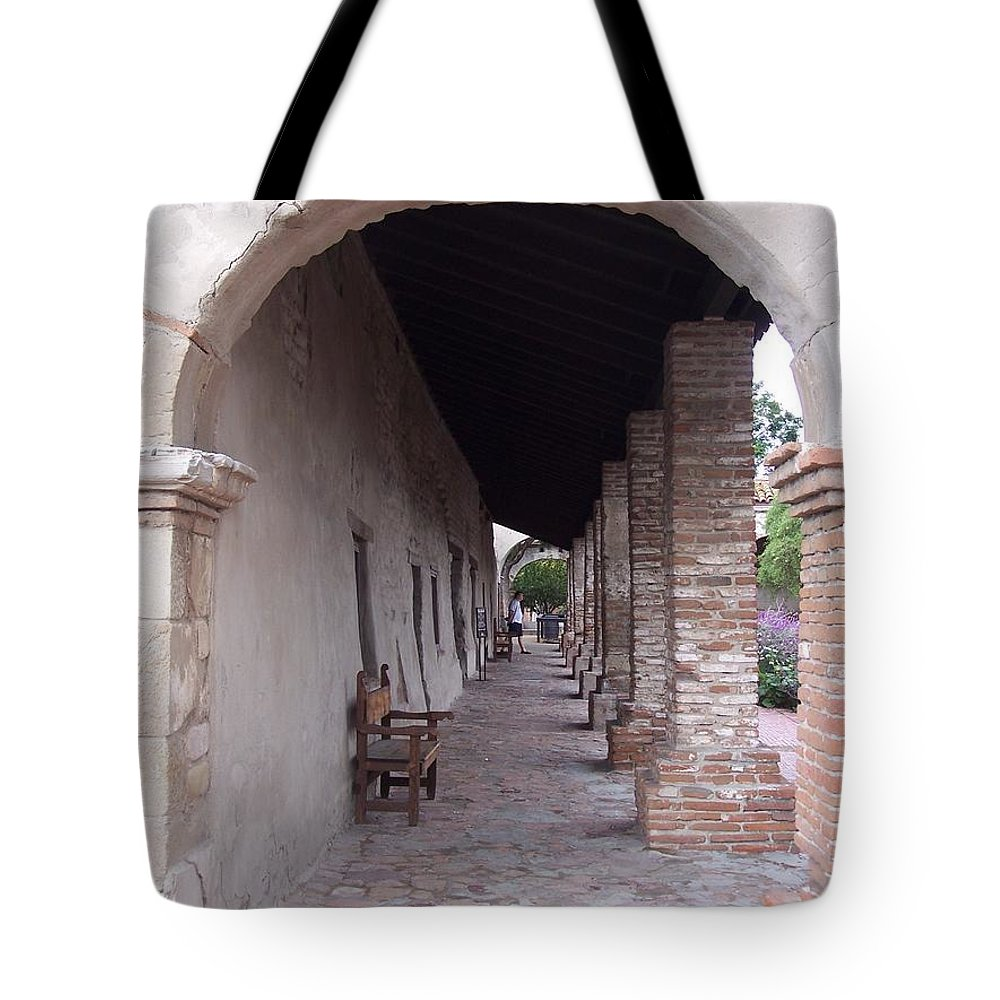 California Mission Tote Bag featuring the photograph Arch San Juan Capistrano by Kimberly-Ann Talbert