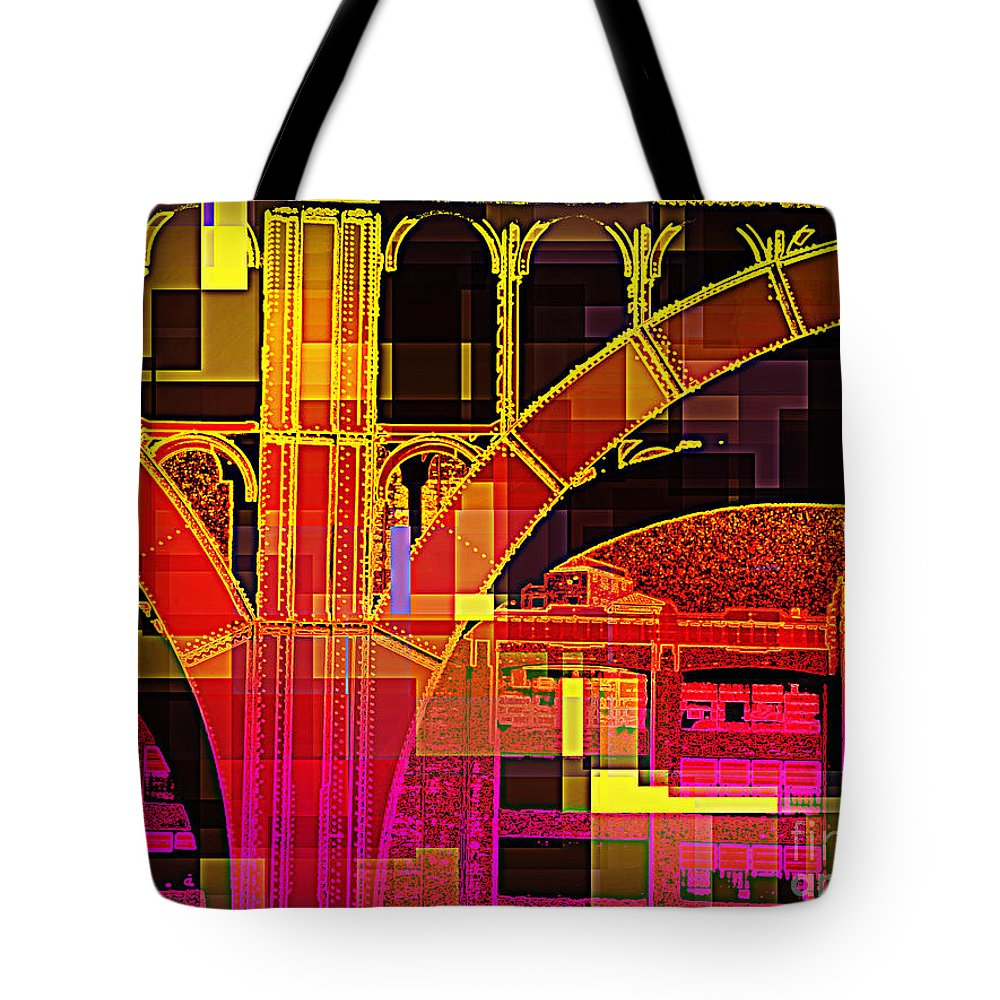 Arch; Architectural Details; Architecture Of New York; Pop Art; Stylized Photography; New York City  Architecture; Color Block; City Photography; Urban Photography; New York City Photography; Travel  Photography; Manhattan; New York City Street Scene; Miriamdanar; Miriam Danar Photography; Miriam Danar  Photographer; Abstract; Industrial Art Tote Bag featuring the photograph Arch Three - Architecture Of New York City by Miriam Danar