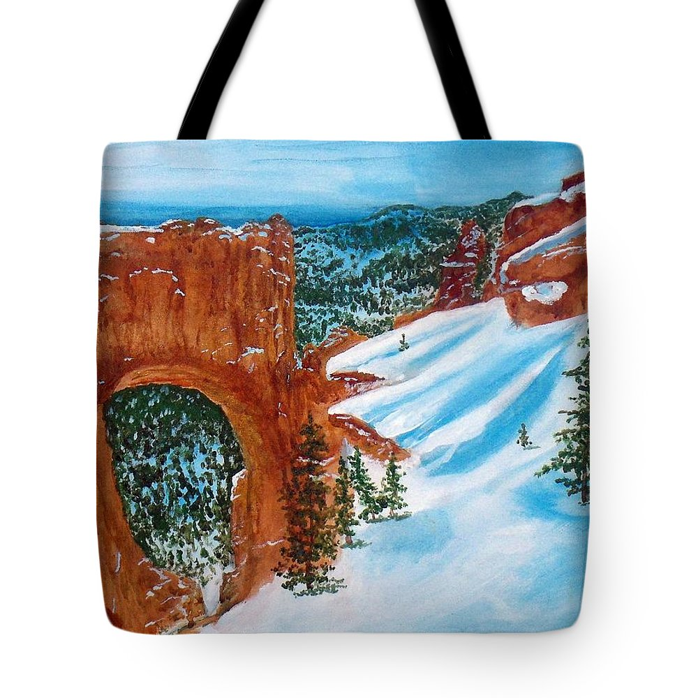 Rock Formation Tote Bag featuring the painting Arch by William Tremble