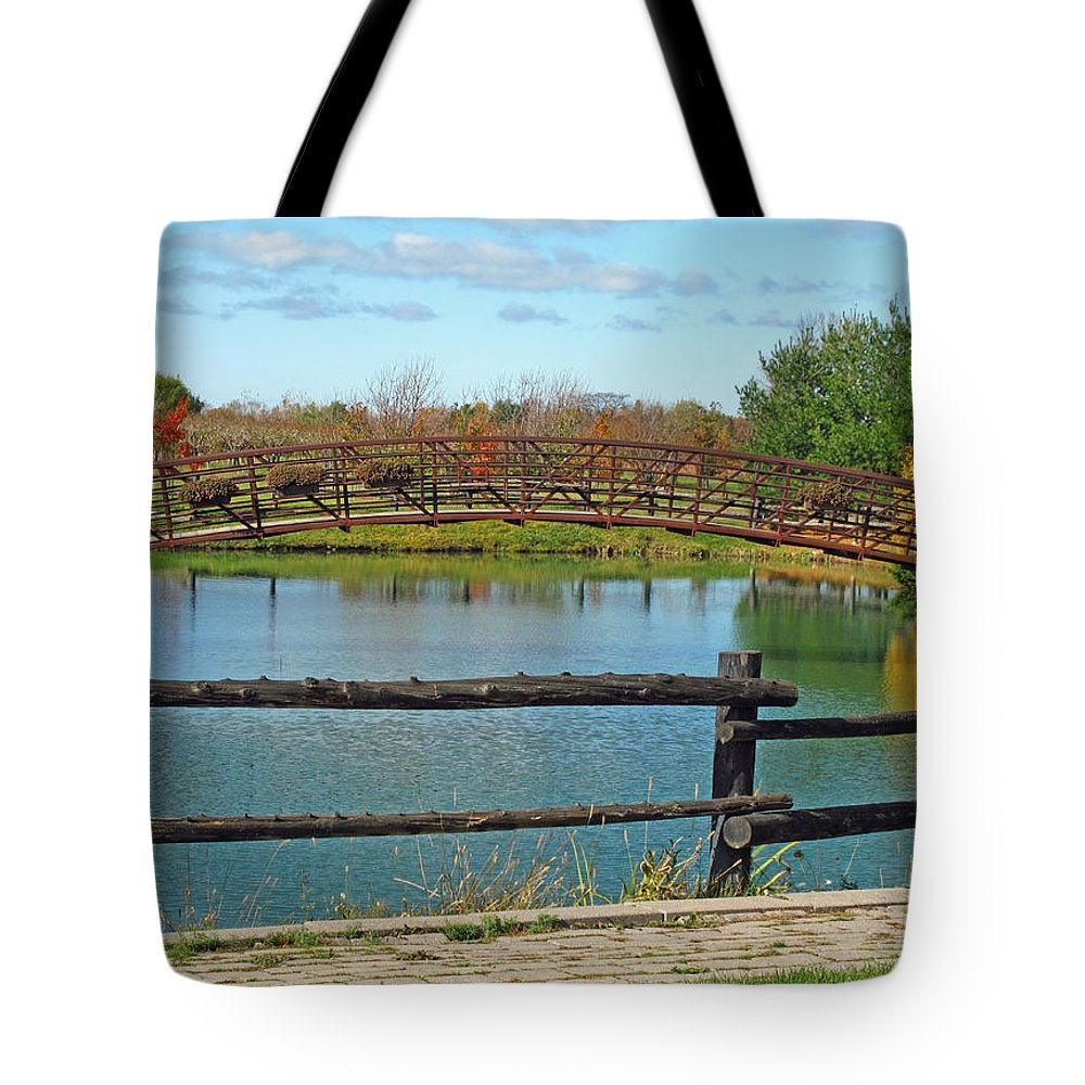 Landscape Tote Bag featuring the photograph Arched Bridge by Barbara McDevitt