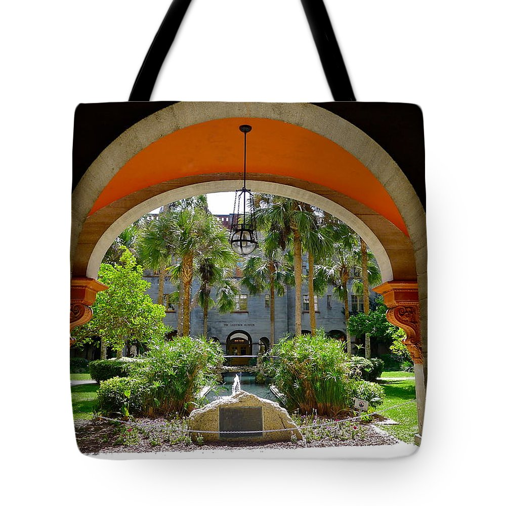 Arch Tote Bag featuring the photograph Arched Courtyard by Denise Mazzocco