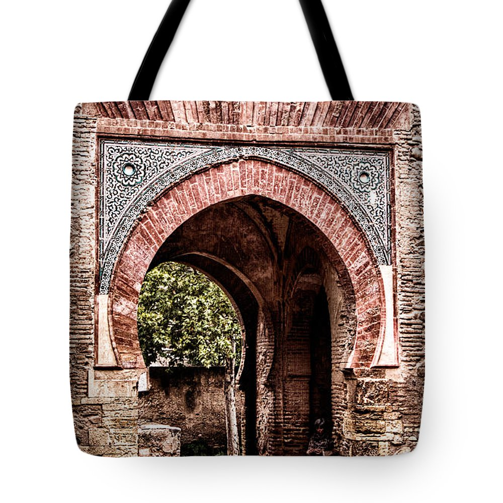 Alhambra Tote Bag featuring the photograph Arched Gate by Weston Westmoreland