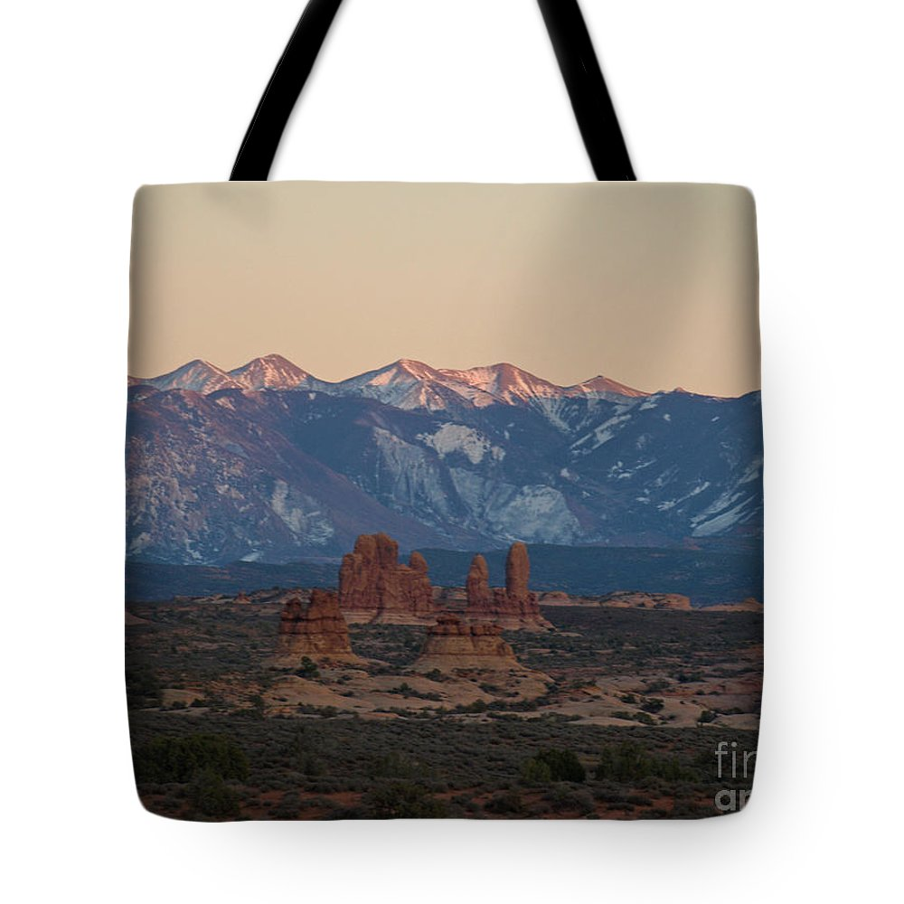 Monument Valley Tote Bag featuring the photograph Arches National Park by Jacklyn Duryea Fraizer