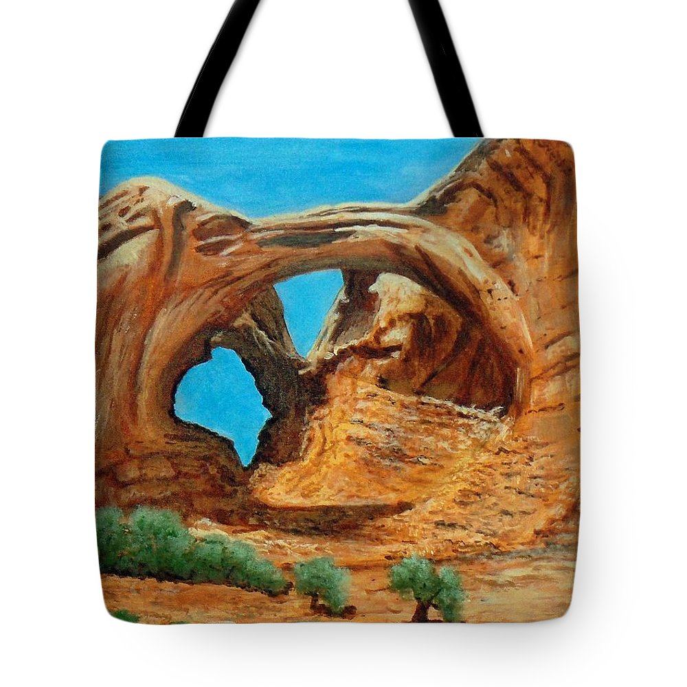 Landscape Tote Bag featuring the painting Arches National Park by William Tremble