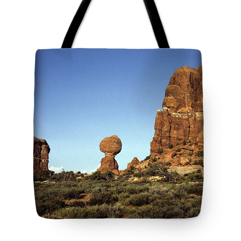 Landscape Tote Bag featuring the photograph Arches National Park With Balanced Rock And Rock Formations by Jim Corwin