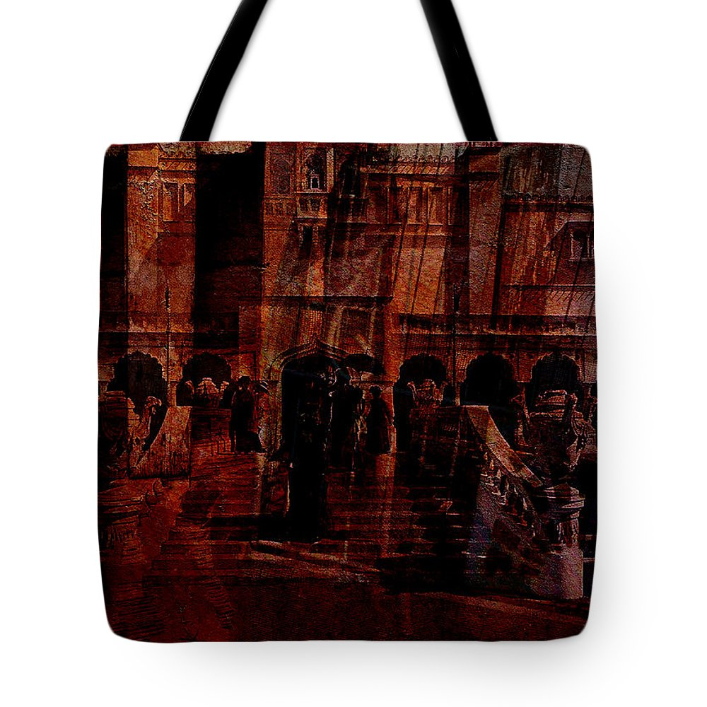 Architectural Oddity Tote Bag featuring the digital art Architectural Oddity by Sarah Vernon