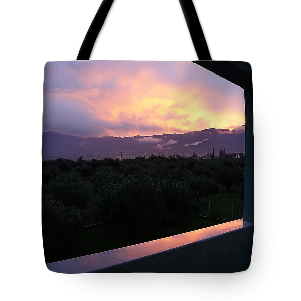 Sunset Tote Bag featuring the photograph Architectural Sunset by Andonis Katanos