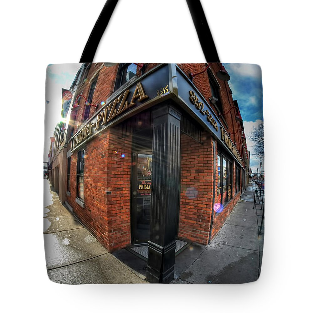 Architecture Tote Bag featuring the photograph Architecture And Places In The Q.c. Series Prima Pizza 01 by Michael Frank Jr