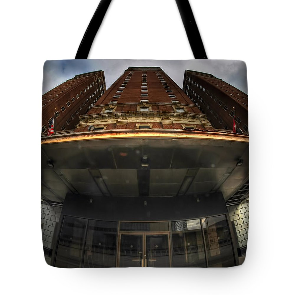 Architecture Tote Bag featuring the photograph Architecture And Places In The Q.c. Series The Statler Towers by Michael Frank Jr