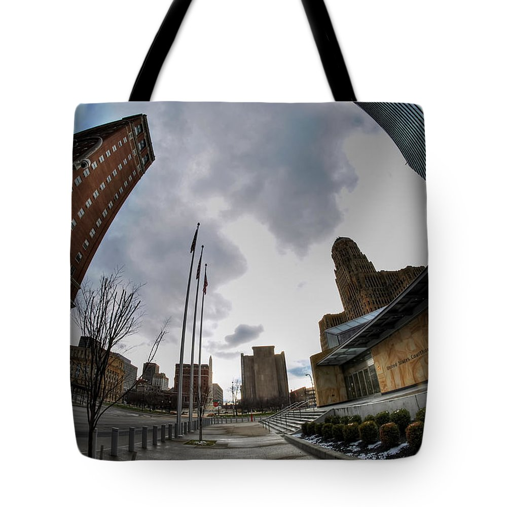 Architecture Tote Bag featuring the photograph Architecture And Places In The Q.c. Series War Of Architecture by Michael Frank Jr