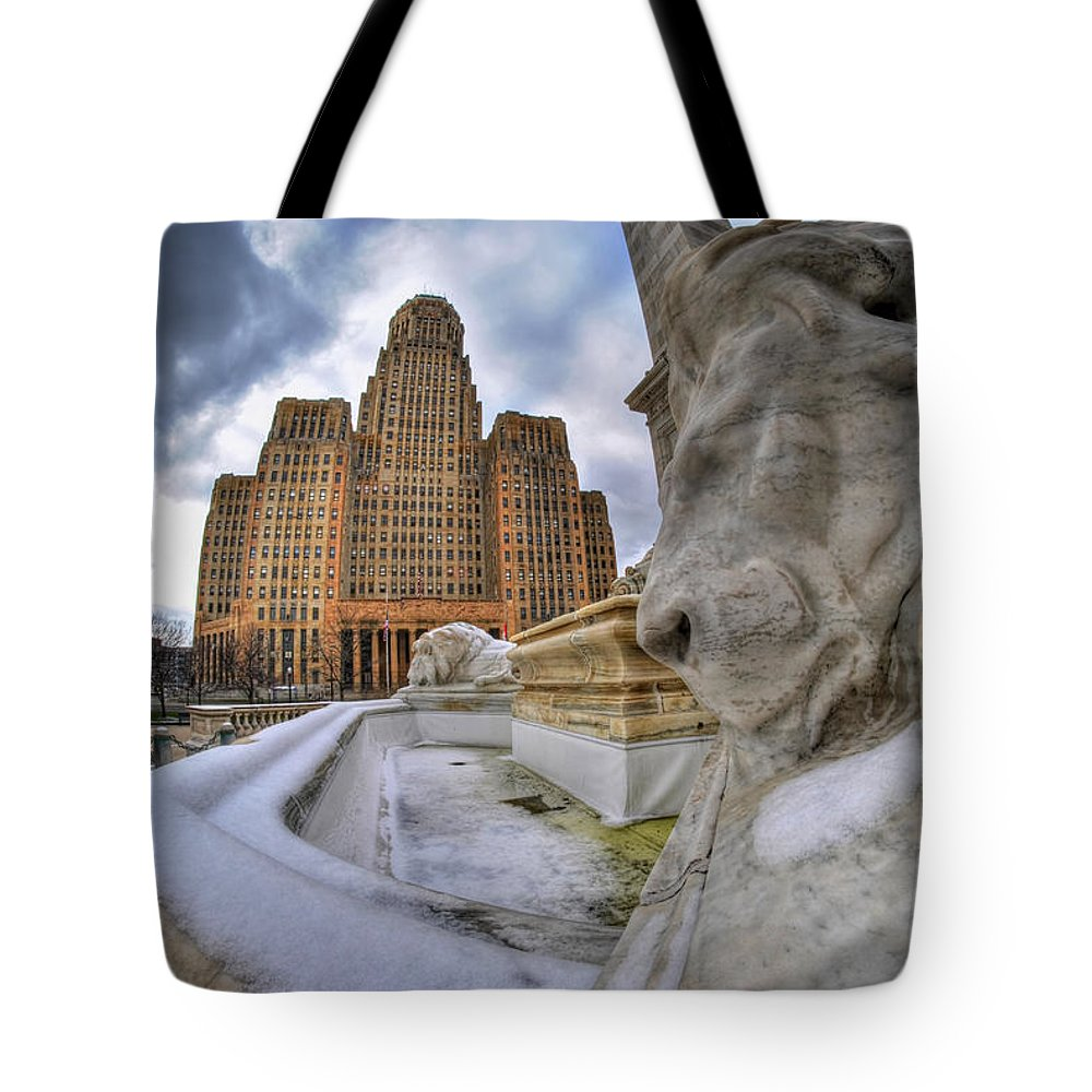 Architecture Tote Bag featuring the photograph Architecture And Places In The Q.c. Series When The Lions Rest by Michael Frank Jr