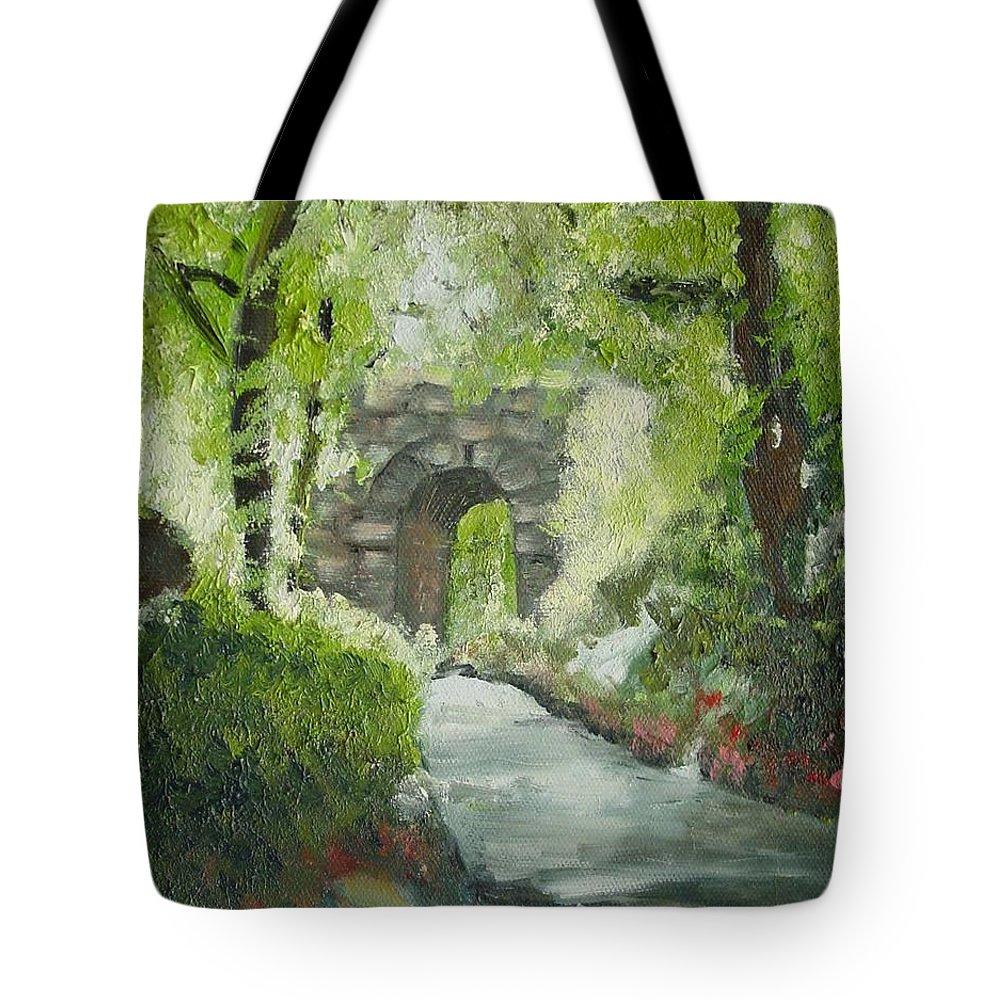 New York Tote Bag featuring the painting Archway In Central Park by Laurie Morgan