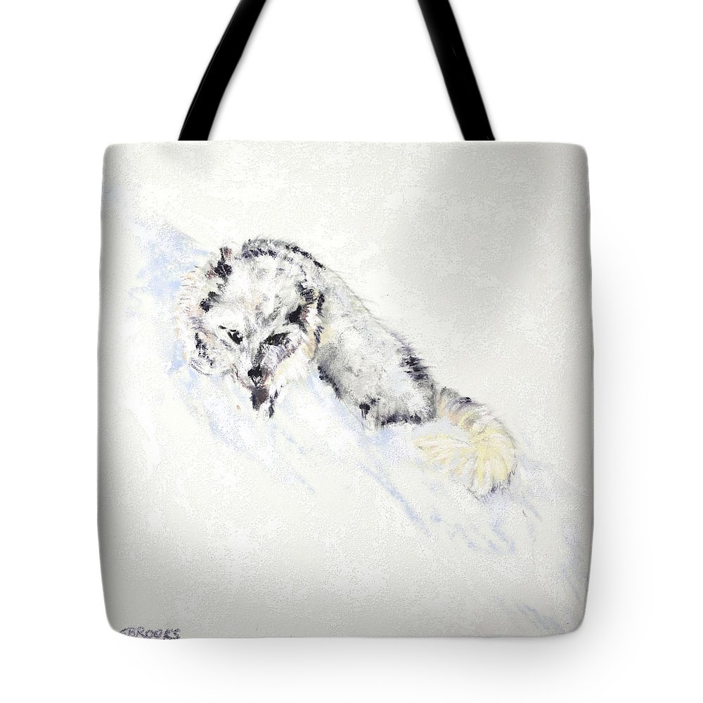 Arctic Tote Bag featuring the painting Arctic Fox Kit by Sandy Brooks