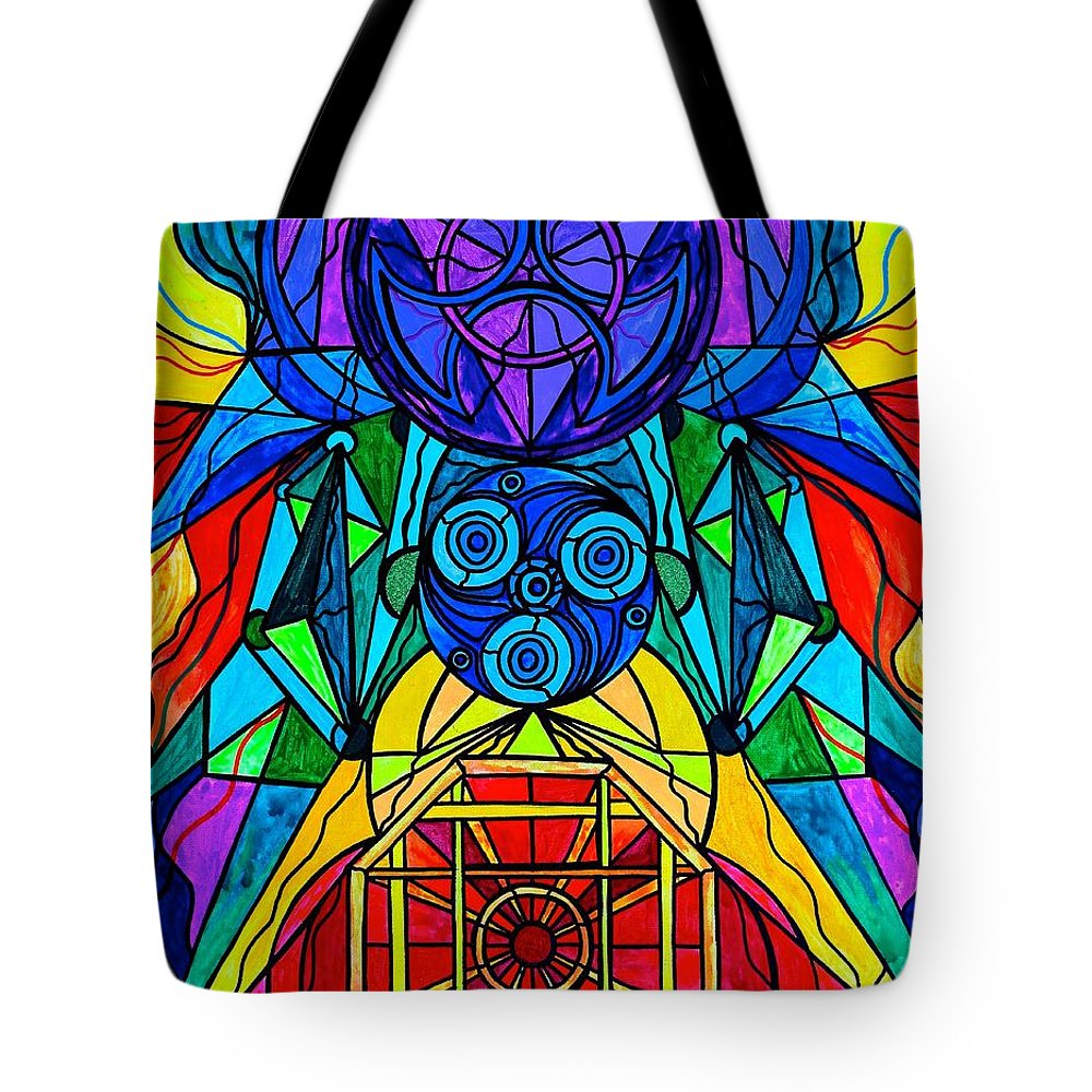 Tote Bag featuring the painting Arcturian Conjunction Grid by Teal Eye Print Store