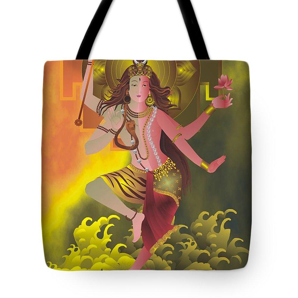 Ardhanareeswara Tote Bag featuring the painting Ardhanareeswara by Rupa Prakash