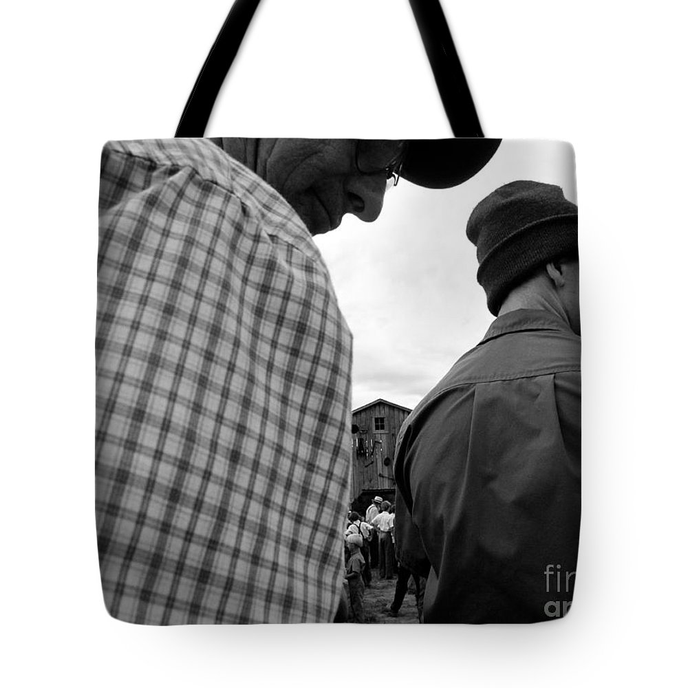 Amish Tote Bag featuring the photograph Are We Blocking Your View ? by Tina M Wenger