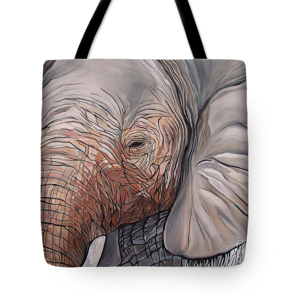 Elephant Bull Painting Tote Bag featuring the painting Are You There by Aimee Vance