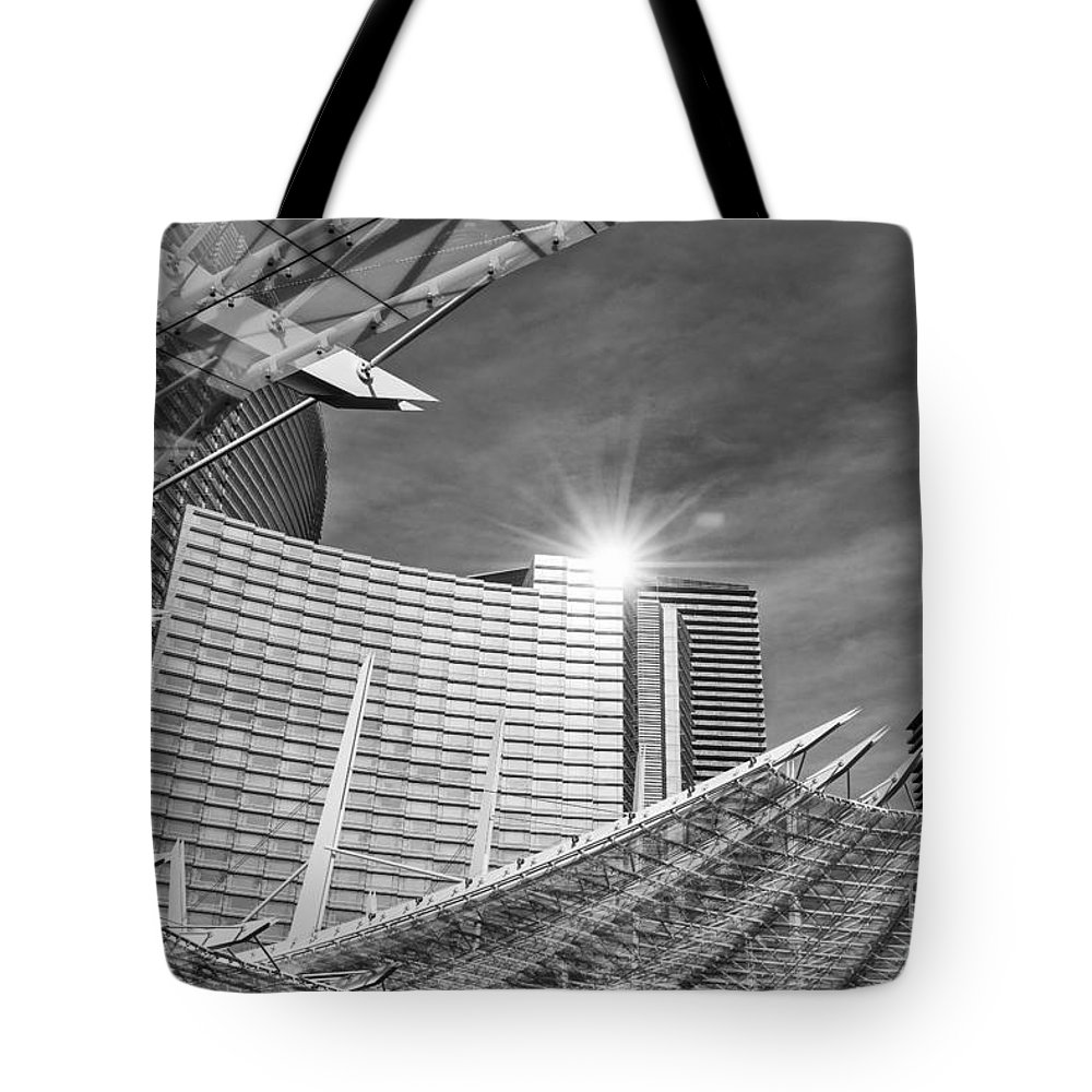 Aria Resort Tote Bag featuring the photograph Aria Sun - Aria Resort And Casino At Citycenter In Las Vegas by Jamie Pham