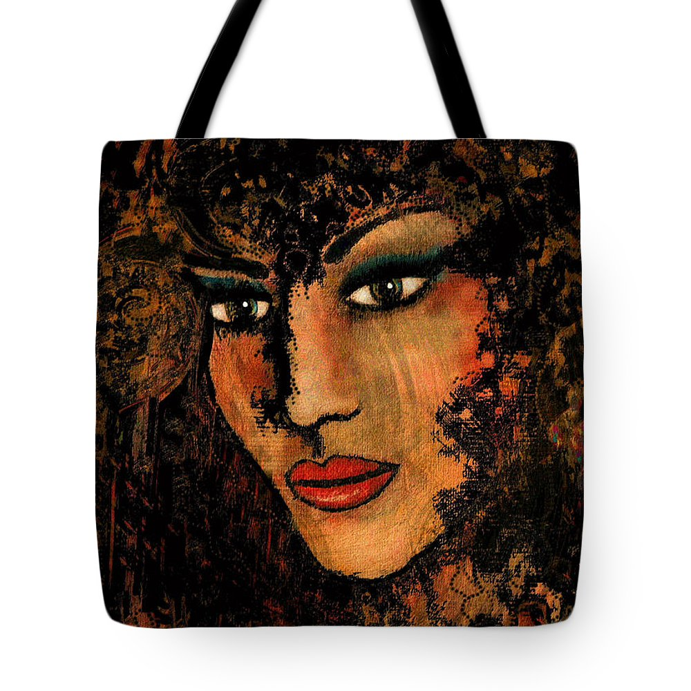 Face Tote Bag featuring the mixed media Ariana by Natalie Holland