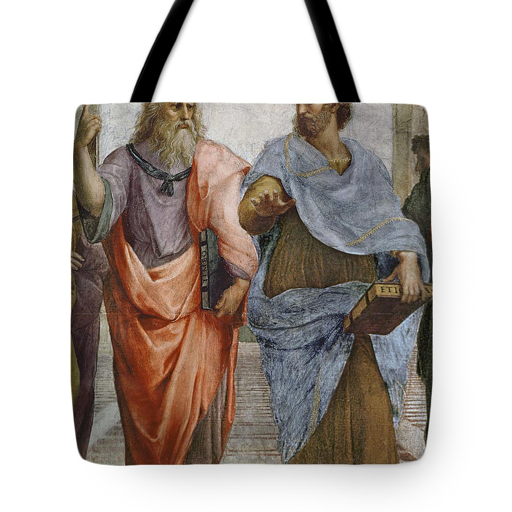 Iconic Tote Bag featuring the painting Aristotle And Plato Detail Of School Of Athens by Raffaello Sanzio of Urbino