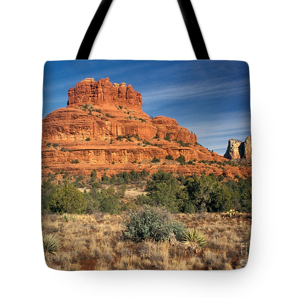 No People; Horizontal; Outdoors; Day; Landscape; Eroded; Rock Formation; Tranquil Scene; Scenics; Travel; Bush; Bell Rock; Grass; Usa; Arizona; Sedona Tote Bag featuring the photograph Arizona Sedona Bell Rock by Anonymous