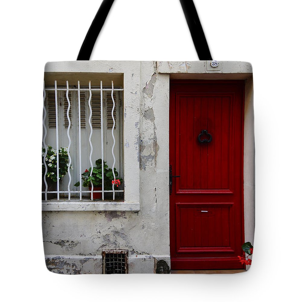 Red Tote Bag featuring the photograph Arles House With Red Door Dsc01806 by Greg Kluempers