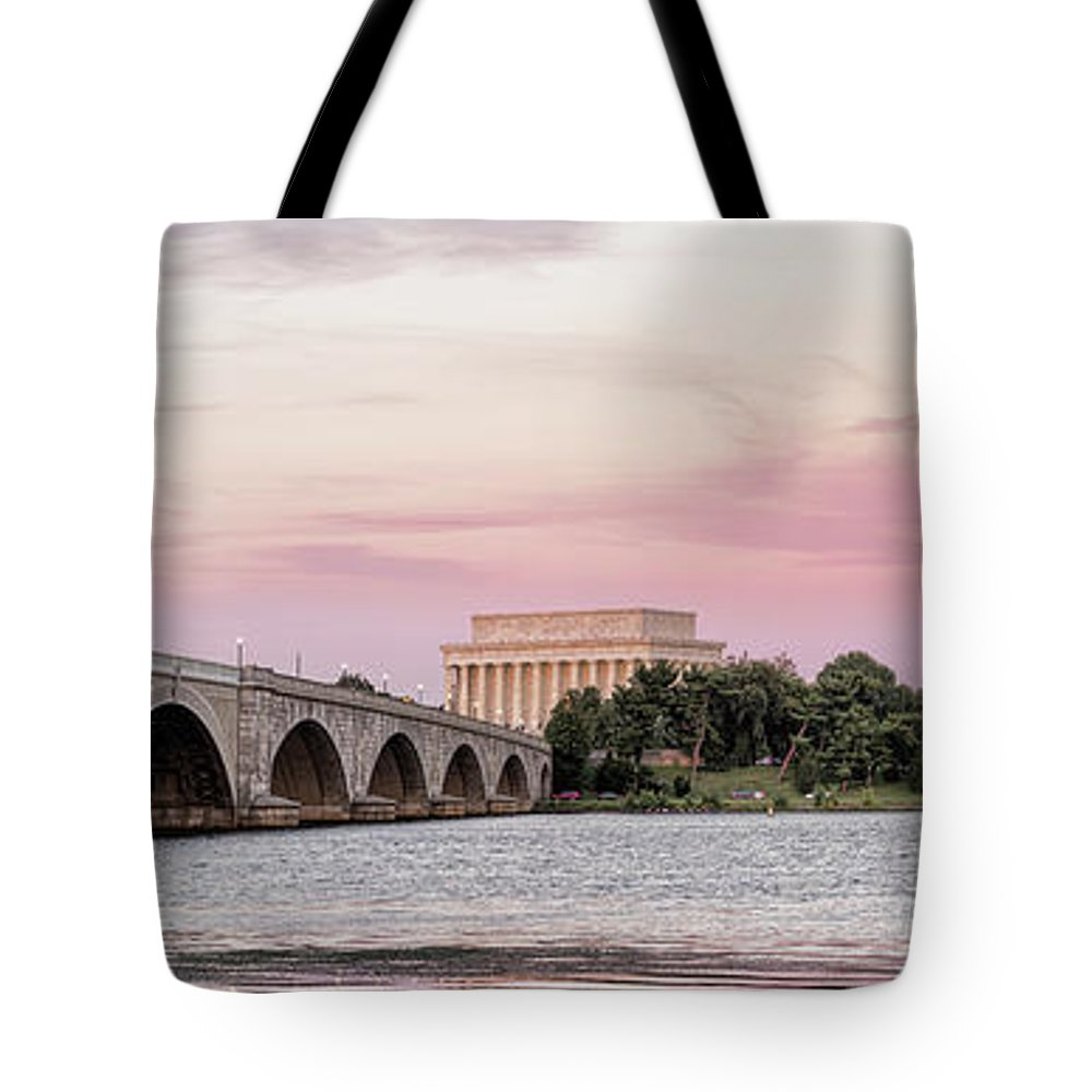 Photography Tote Bag featuring the photograph Arlington Memorial Bridge With Lincoln by Panoramic Images