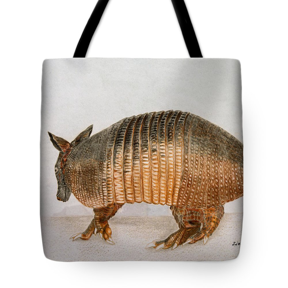 Armadillo Tote Bag featuring the drawing Armadillo by Zina Stromberg