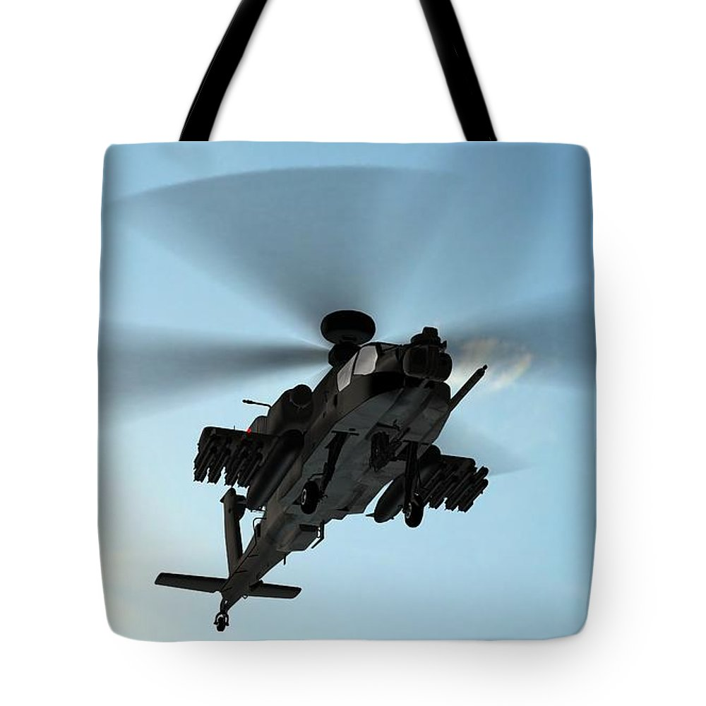 Wind Tote Bag featuring the photograph Armed Longbow Apache Helicopter In by Bestgreenscreen
