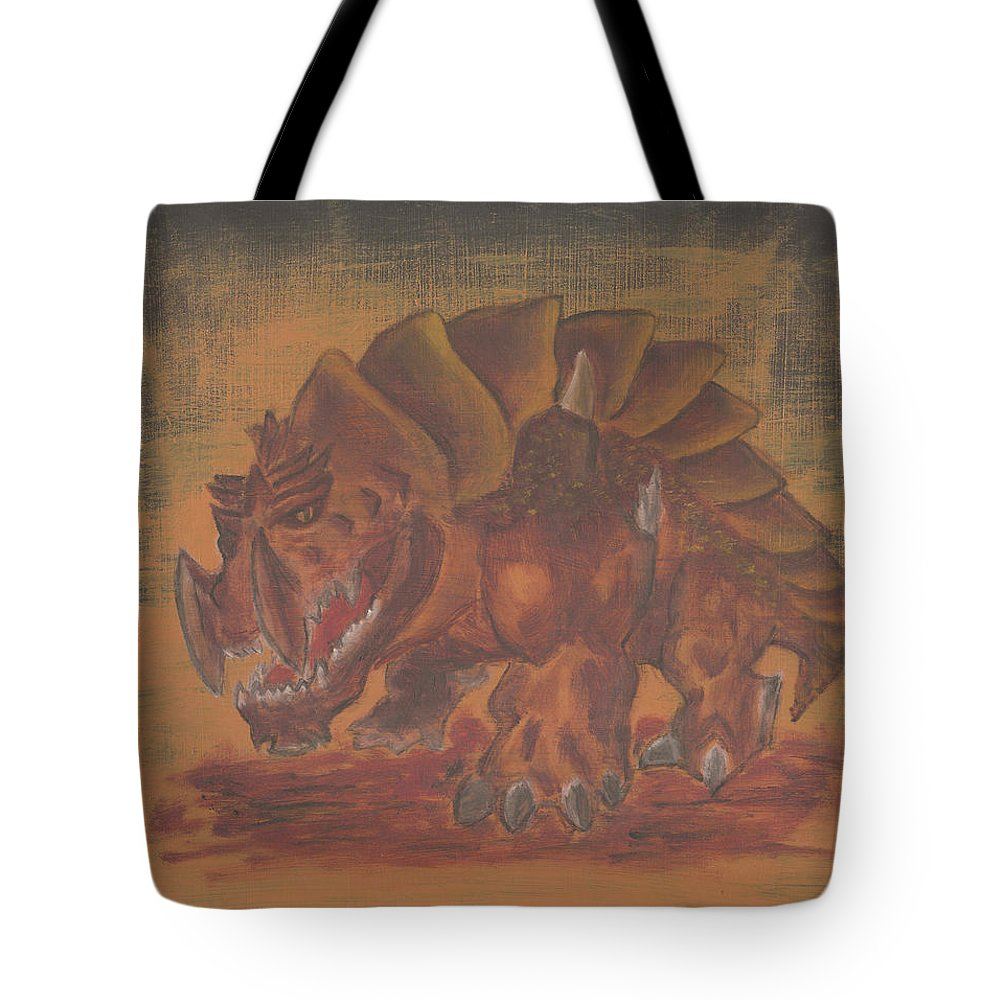 Fantasy Tote Bag featuring the painting Armored Beast by Jeffrey Oleniacz