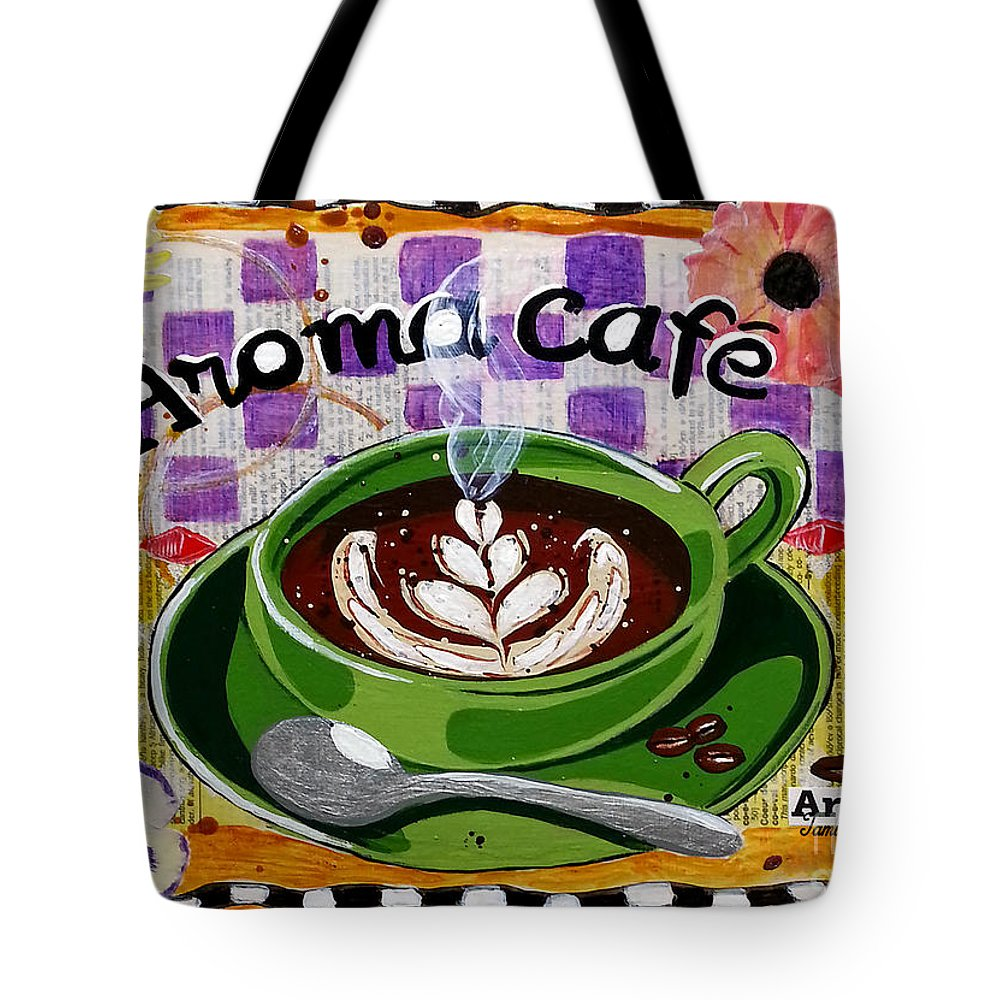 Froth Tote Bag featuring the mixed media Aroma Cafe by Tami Dalton