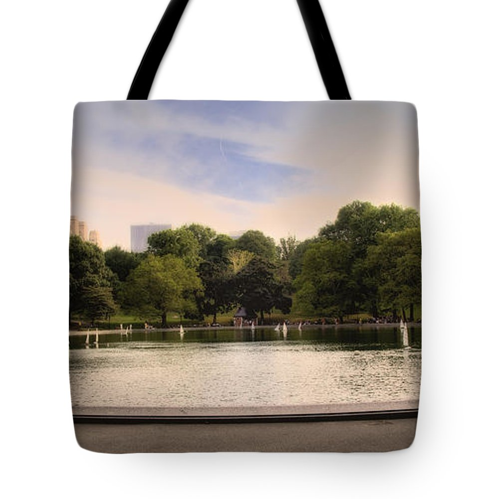 Pond Tote Bag featuring the photograph Around The Central Park Pond by Madeline Ellis