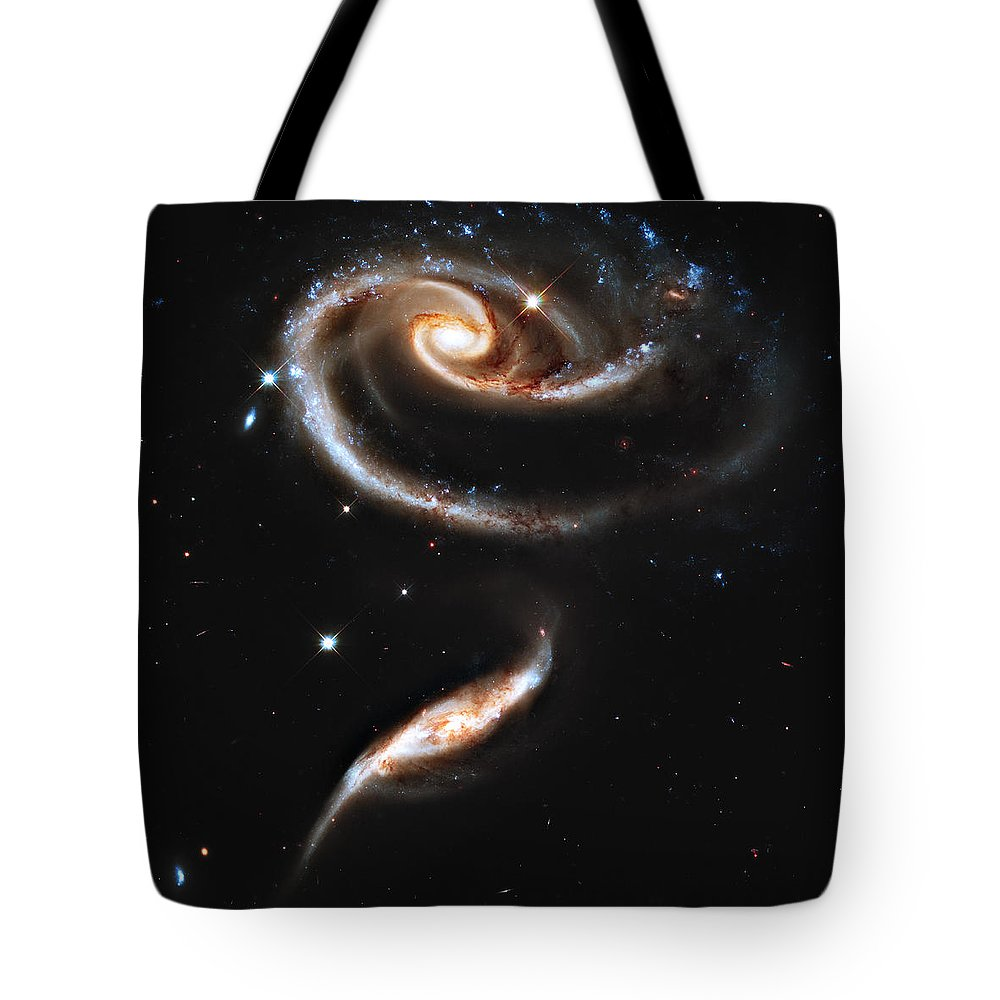 Arp Tote Bag featuring the photograph Arp 273 Rose Galaxies by Ricky Barnard