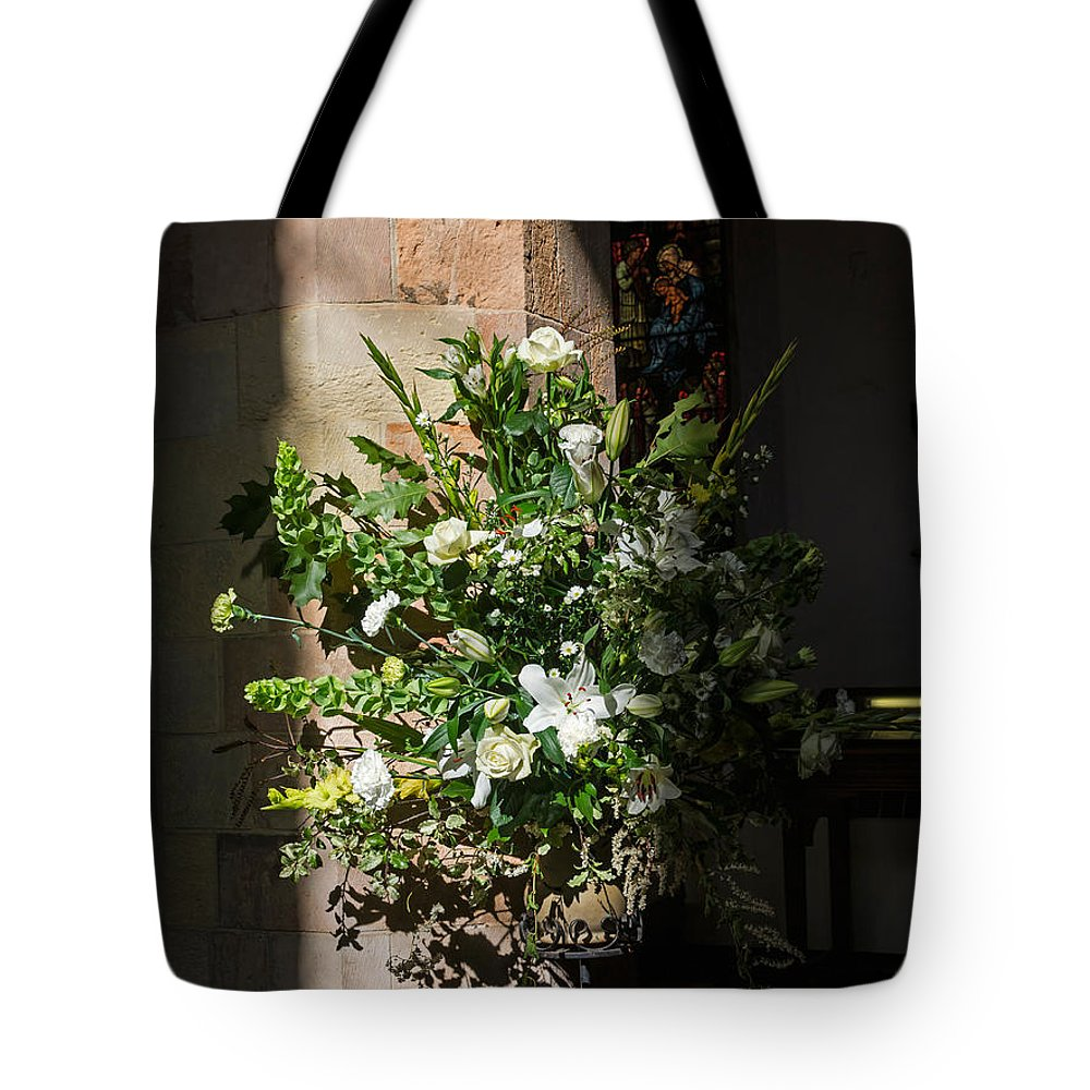 Fresh Tote Bag featuring the photograph Arrangement Of White Flowers by Louise Heusinkveld