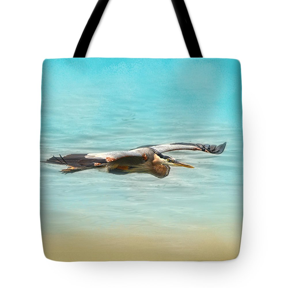 Avian Tote Bag featuring the photograph Arrival - Blue Heron - Wildlife by Jai Johnson
