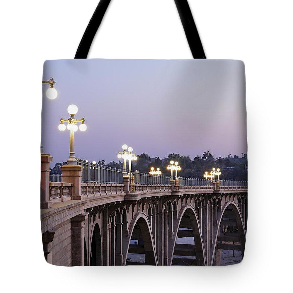 Arch Tote Bag featuring the photograph Arroyo Seco Bridge Pasadena by S. Greg Panosian