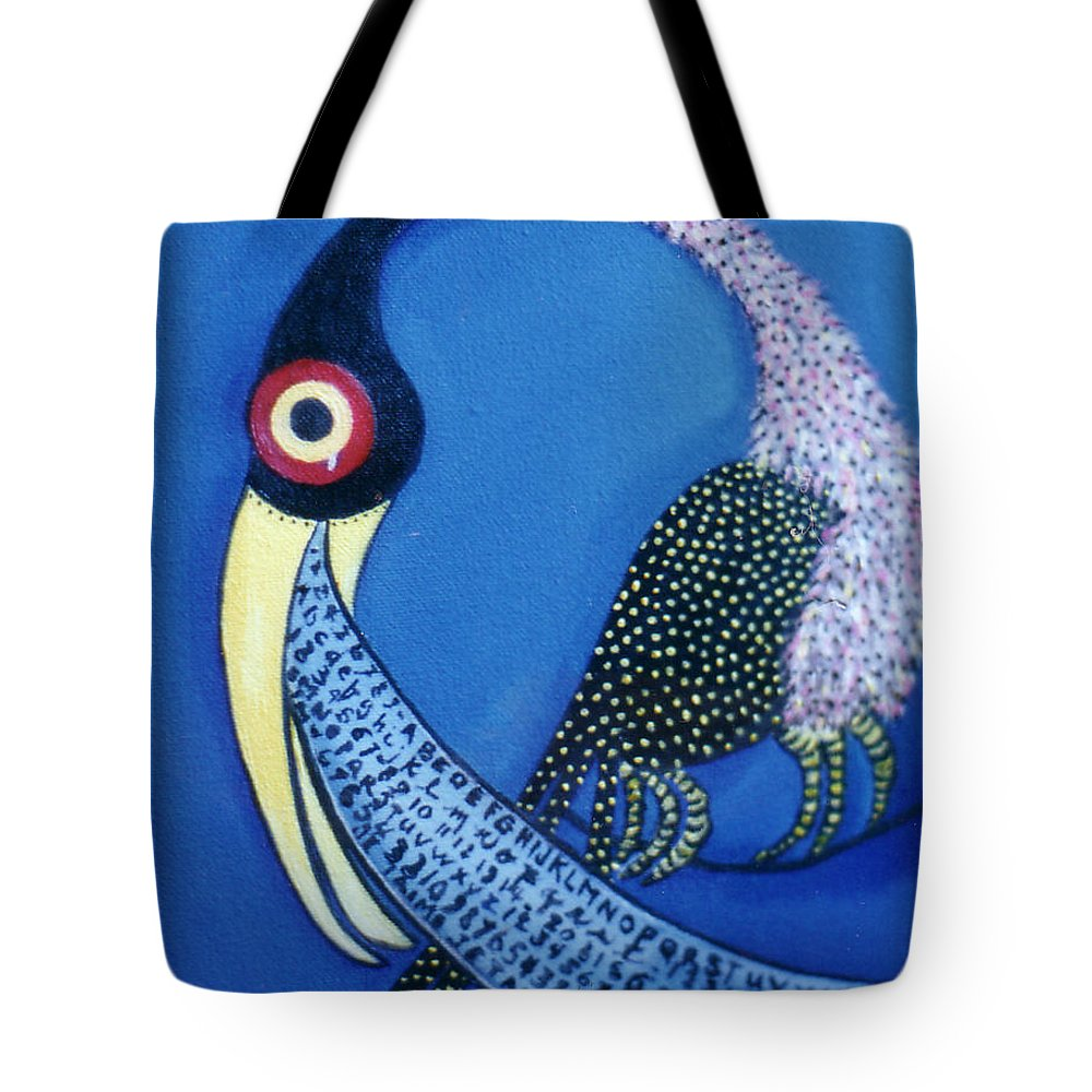 Pikotine Tote Bag featuring the painting Art Bird by Pikotine Art