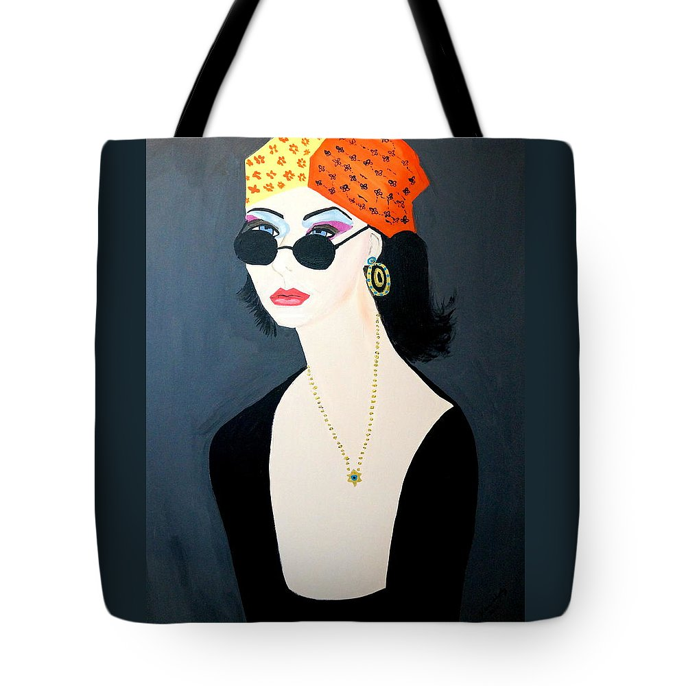 Hippy Tote Bag featuring the painting Art Deco Hippy Girl by Nora Shepley