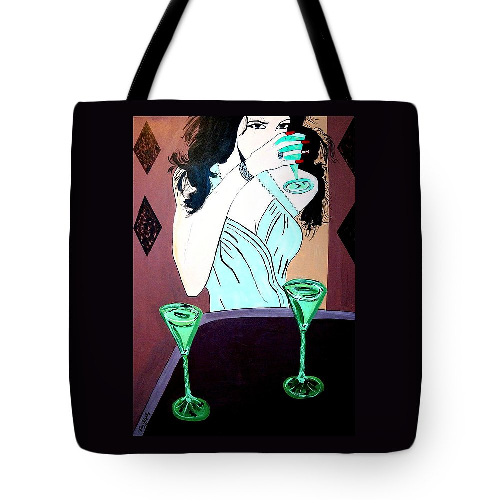 Female Tote Bag featuring the painting One More For The Road by Nora Shepley