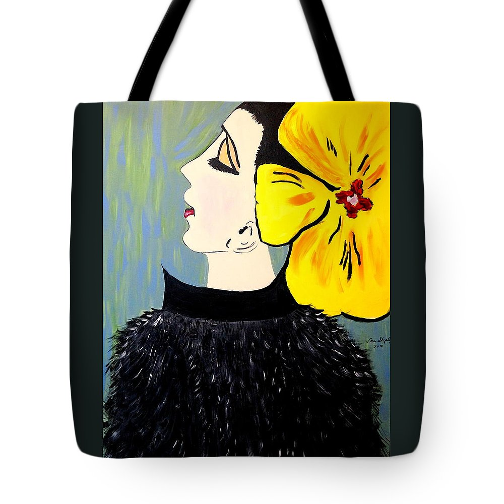 Yellow Bow Tote Bag featuring the painting Yellow Bow by Nora Shepley