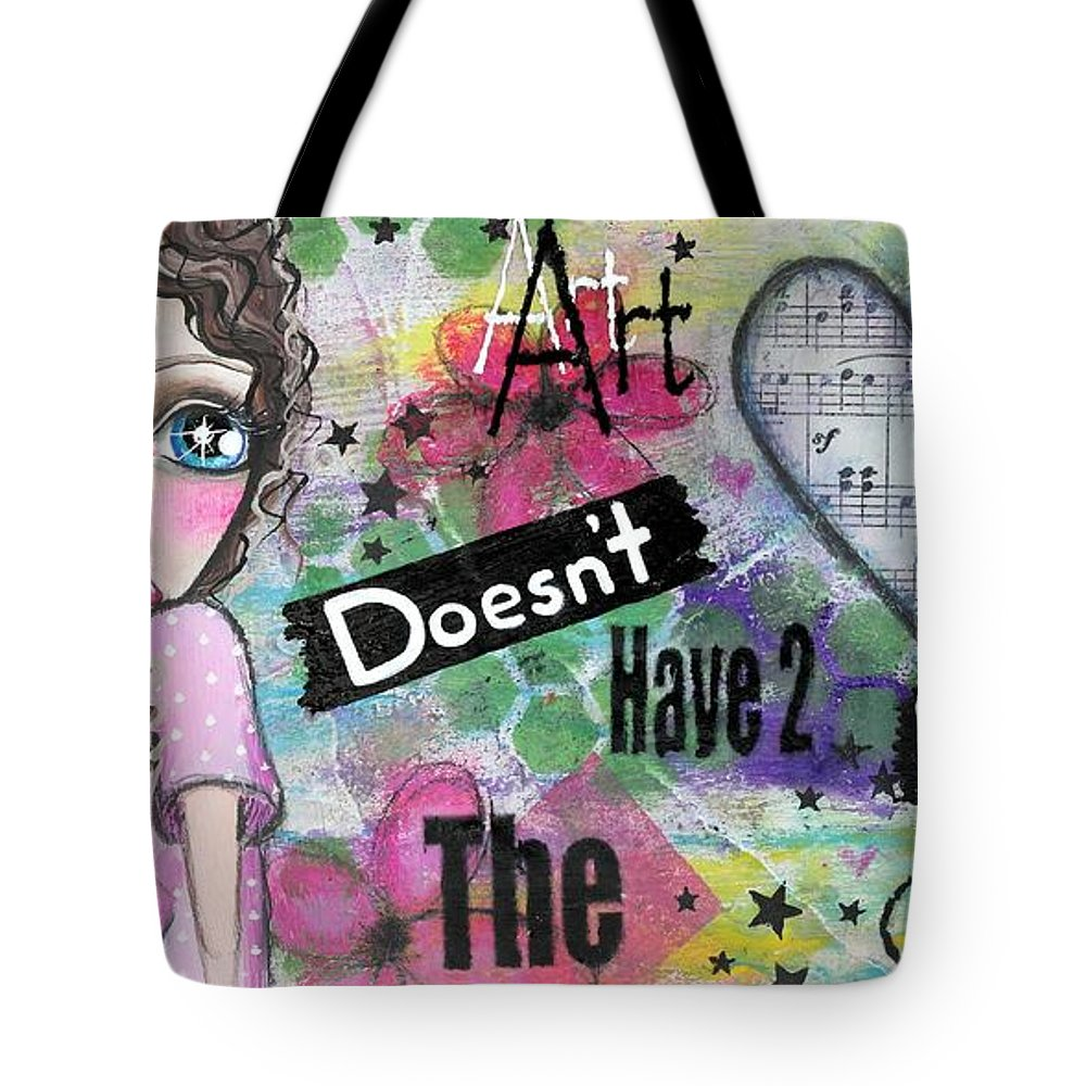 Mixed Media Tote Bag featuring the painting Art Doesn't Have 2 Match The Couch by Lizzy Love of Oddball Art Co
