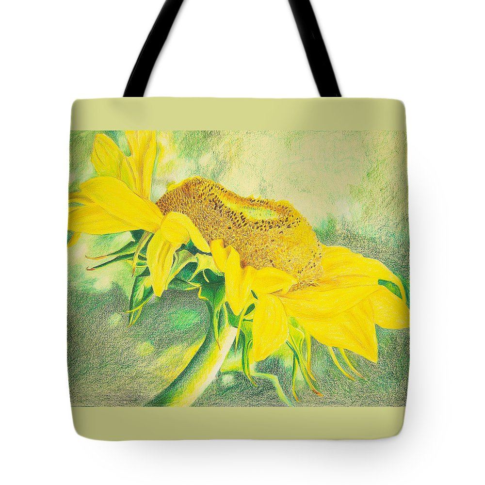 Sunflower Art Print Tote Bag featuring the mixed media Sunflower Print Art For Sale Colored Pencil Floral by Diane Jorstad