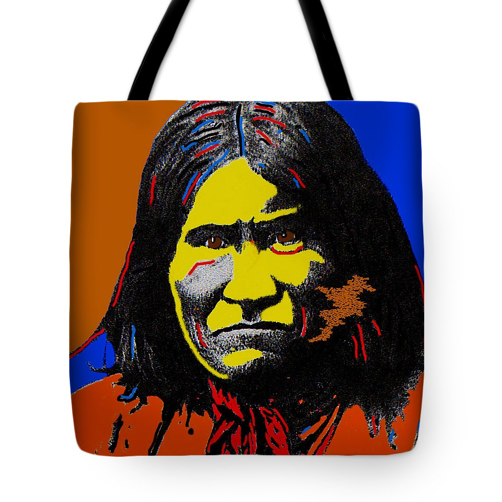 Art Homage Andy Warhol Geronimo 1887-2009 Color Added John Wayne Annie Oakley Photographer Ben Wittick Tote Bag featuring the photograph Art Homage Andy Warhol Geronimo 1887-2009 by David Lee Guss