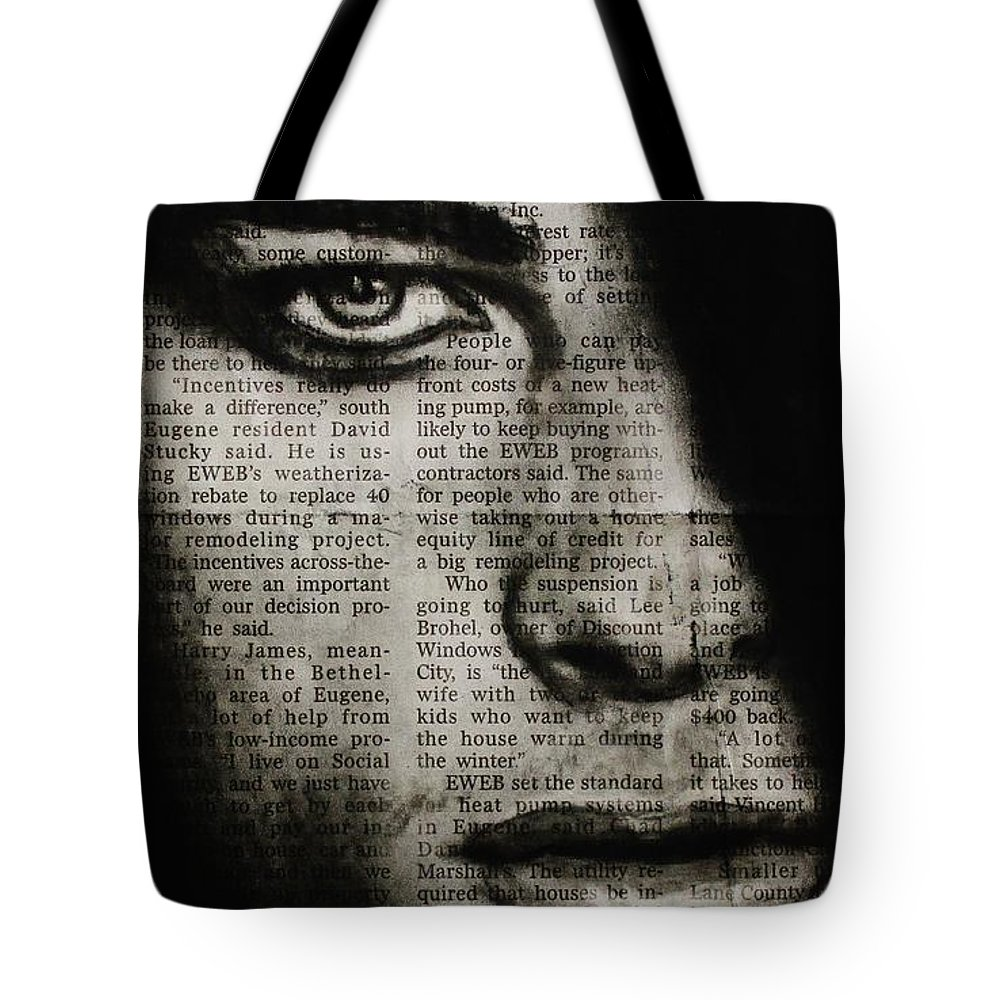Male Tote Bag featuring the drawing Art In The News 7 by Michael Cross