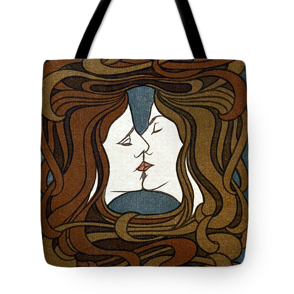 Behrens Tote Bag featuring the photograph Art Nouveau Woodblock Print 1898 by Daniel Hagerman