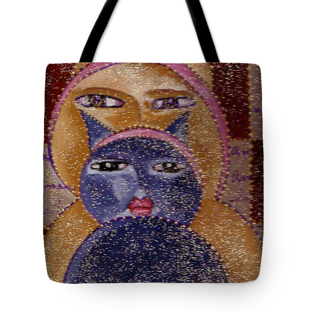 Art Picasso Cats Tote Bag featuring the painting Art Picasso Cats by Pikotine Art