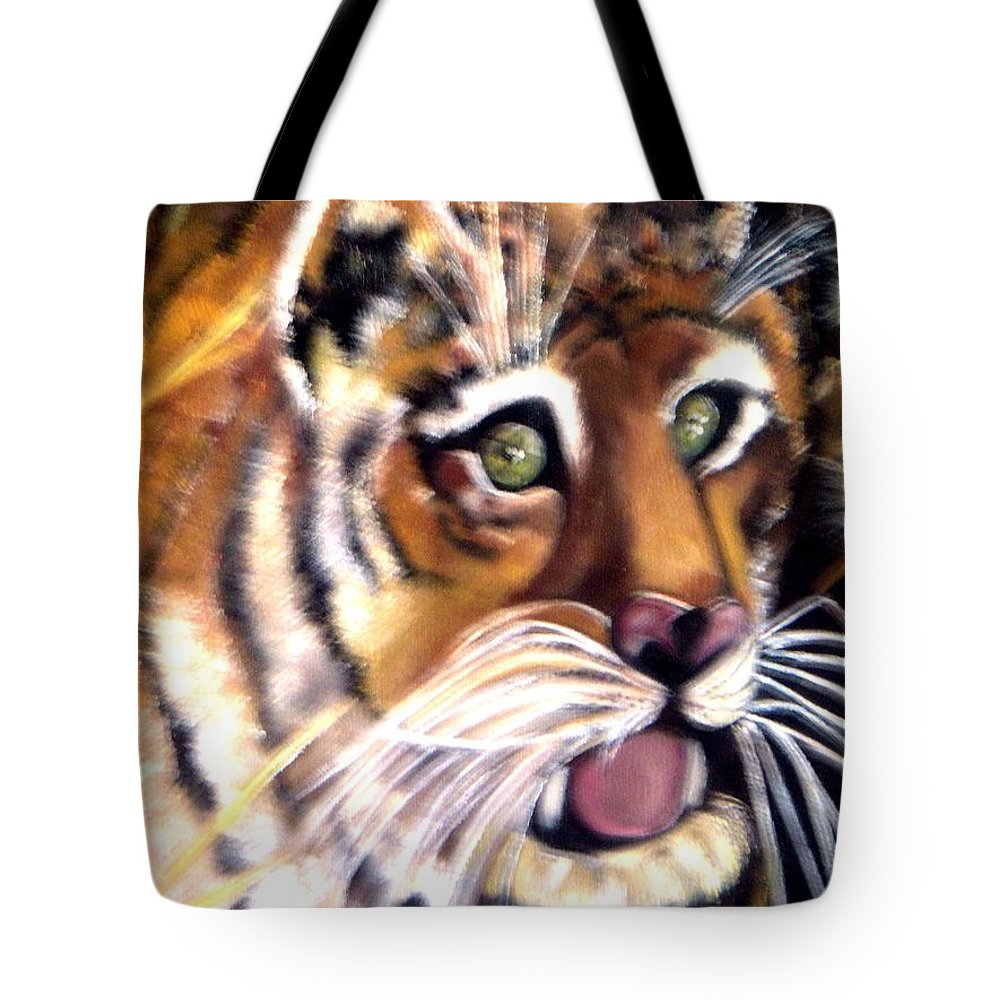 Art Tiger Tote Bag featuring the painting Tiger Art by Pikotine Art