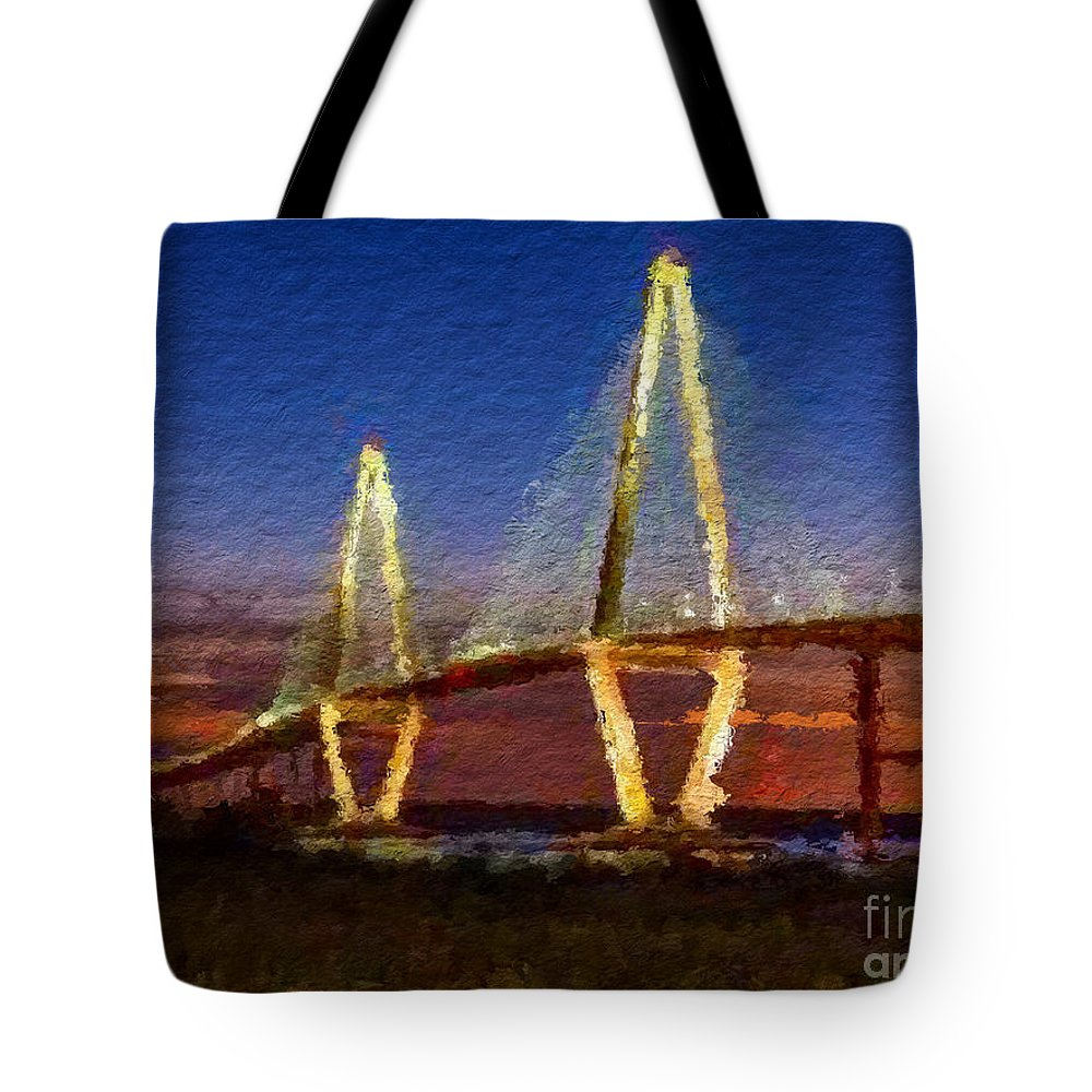 Anthony Fishburne Tote Bag featuring the mixed media Arthur Ravenel Bridge At Evening by Anthony Fishburne
